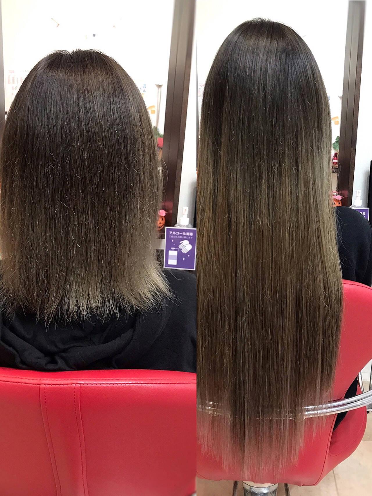 ストレート 韓国ヘア エクステ ナチュラルヘアスタイルや髪型の写真・画像