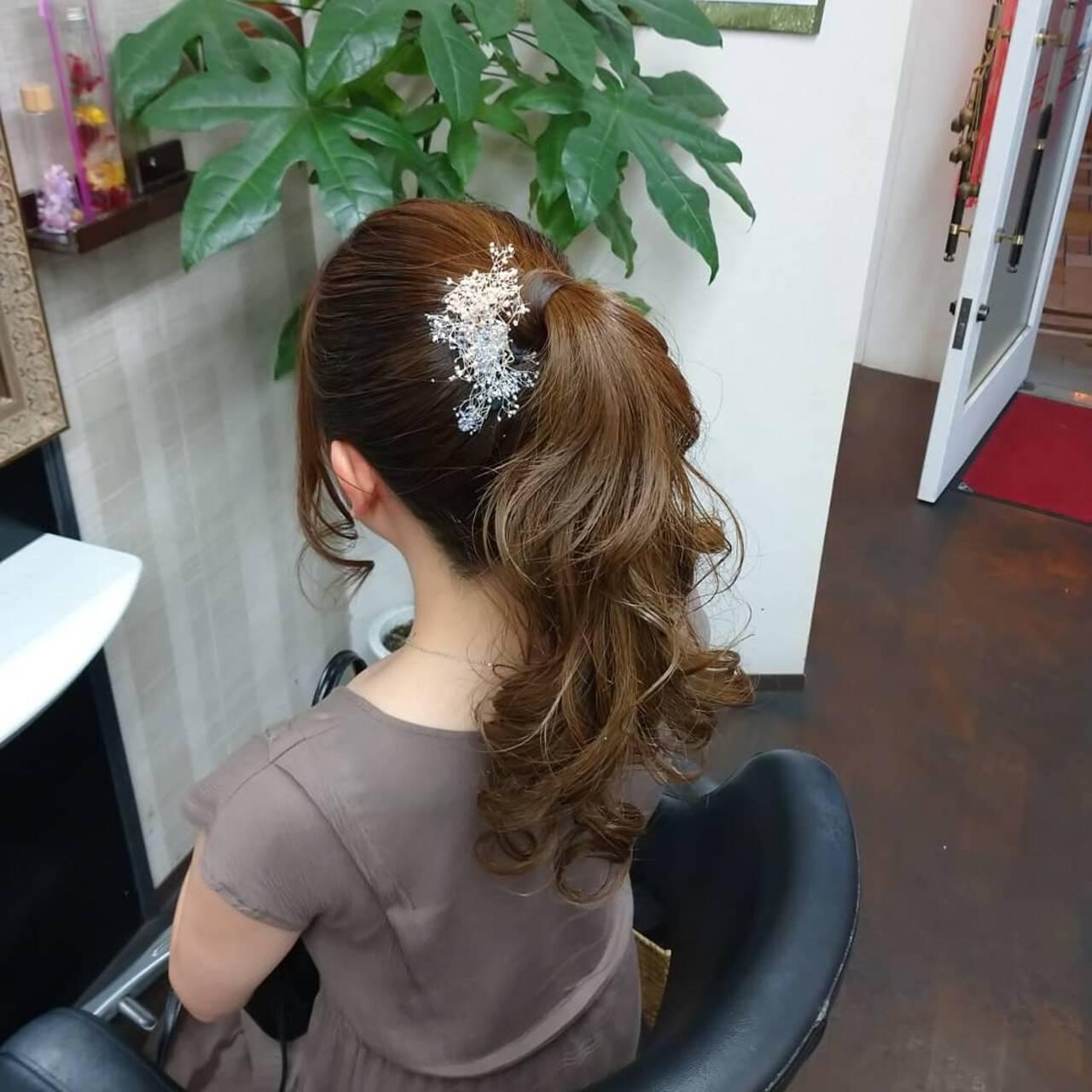 ヘアアレンジ ナチュラル ロング ポニーテールヘアスタイルや髪型の写真・画像
