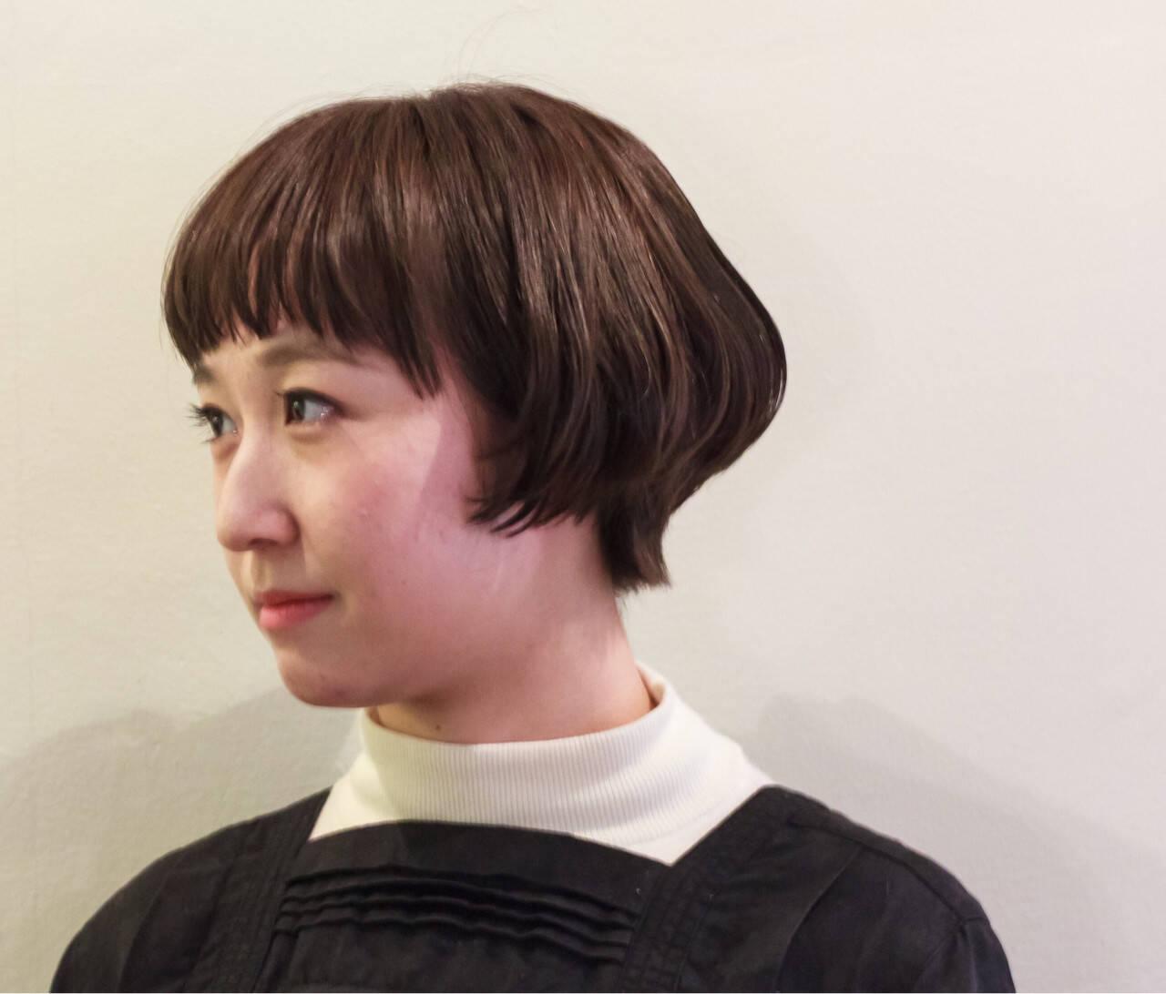 暗髪 色気 ボブ ダークアッシュヘアスタイルや髪型の写真・画像