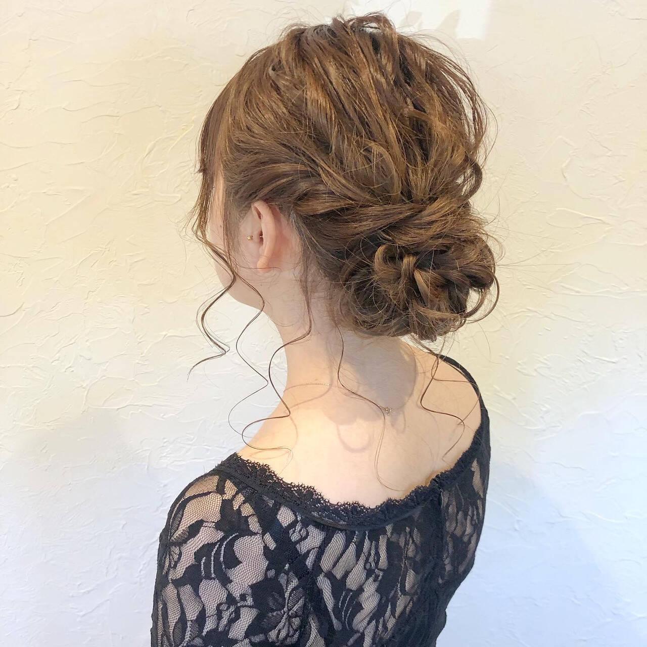 簡単ヘアアレンジ セミロング ヘアアレンジ 結婚式ヘアアレンジヘアスタイルや髪型の写真・画像