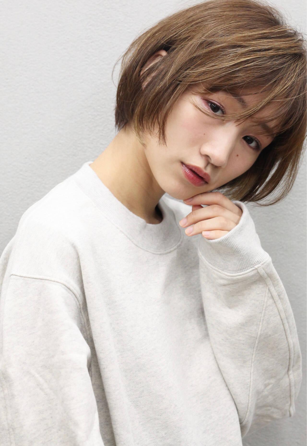 ナチュラル 簡単スタイリング 小顔ショート ショートヘアスタイルや髪型の写真・画像