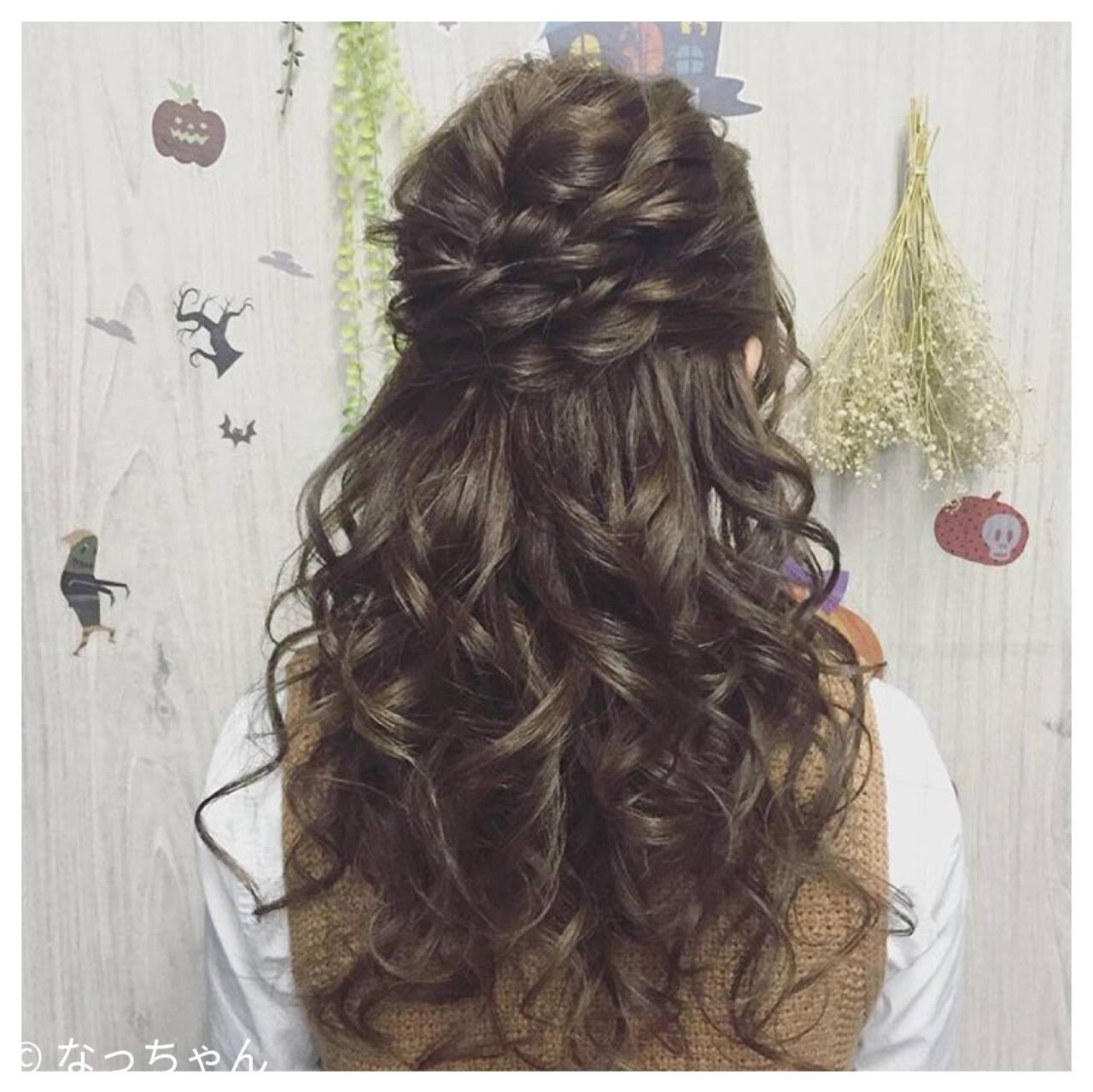 ハーフアップ ヘアアレンジ 結婚式 ロングヘアスタイルや髪型の写真・画像