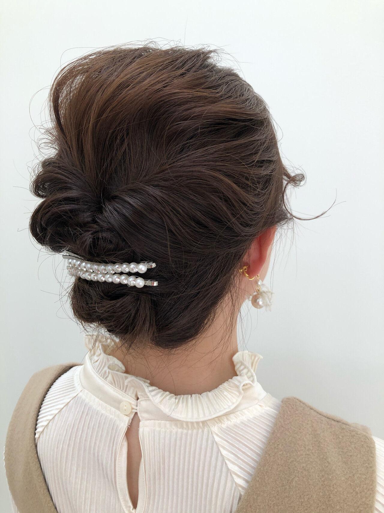ヘアセット ゆるふわセット ショート ナチュラルヘアスタイルや髪型の写真・画像