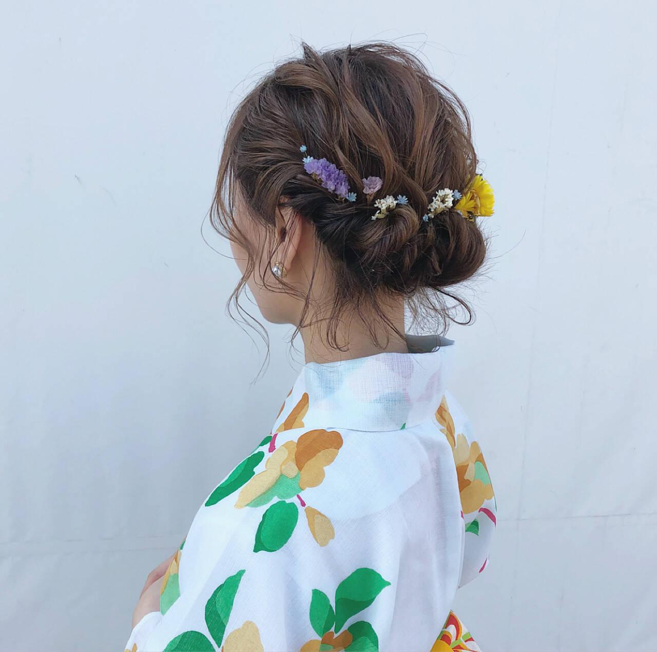 花火大会 ナチュラル 夏 デートヘアスタイルや髪型の写真・画像