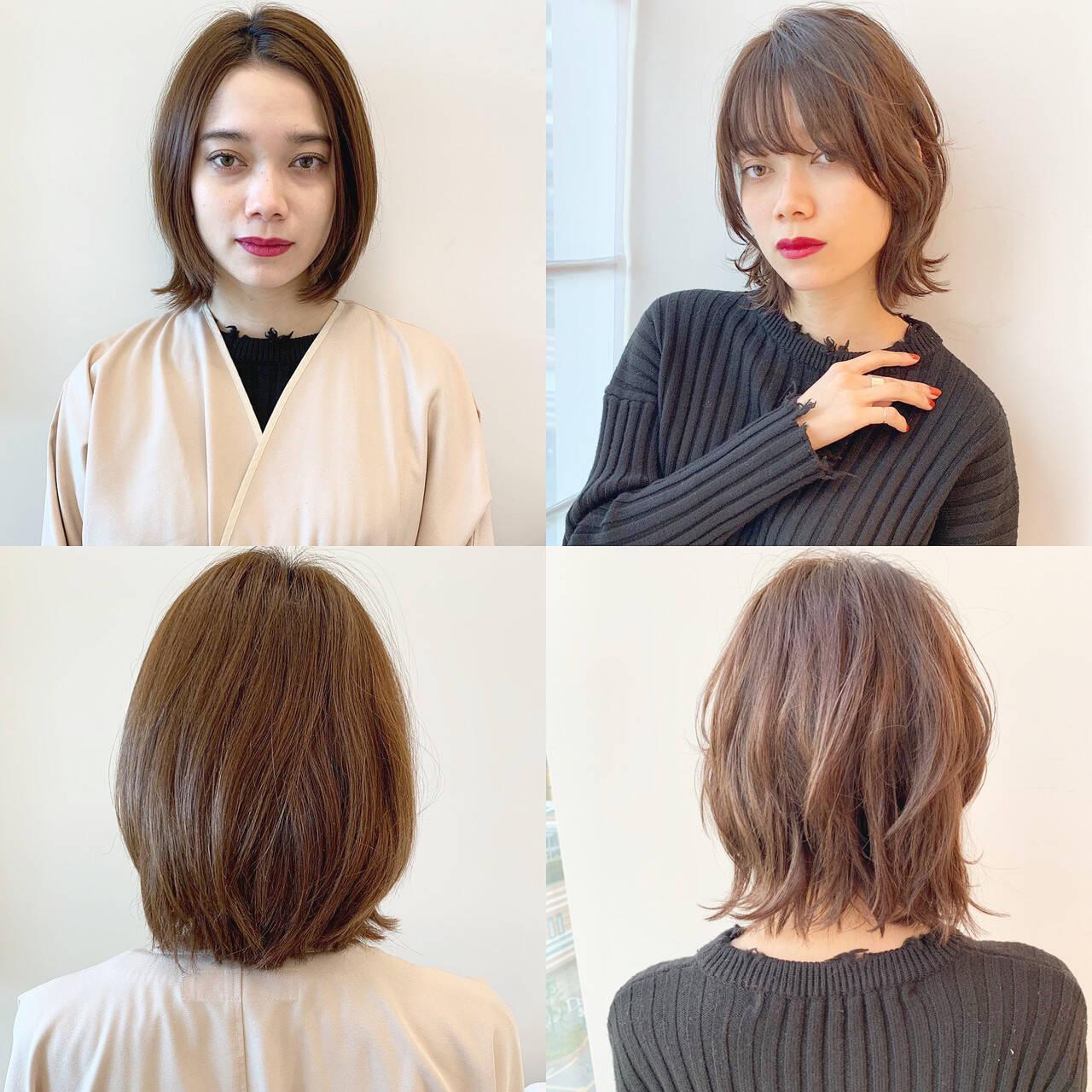 パーマ モード デート ボブヘアスタイルや髪型の写真・画像