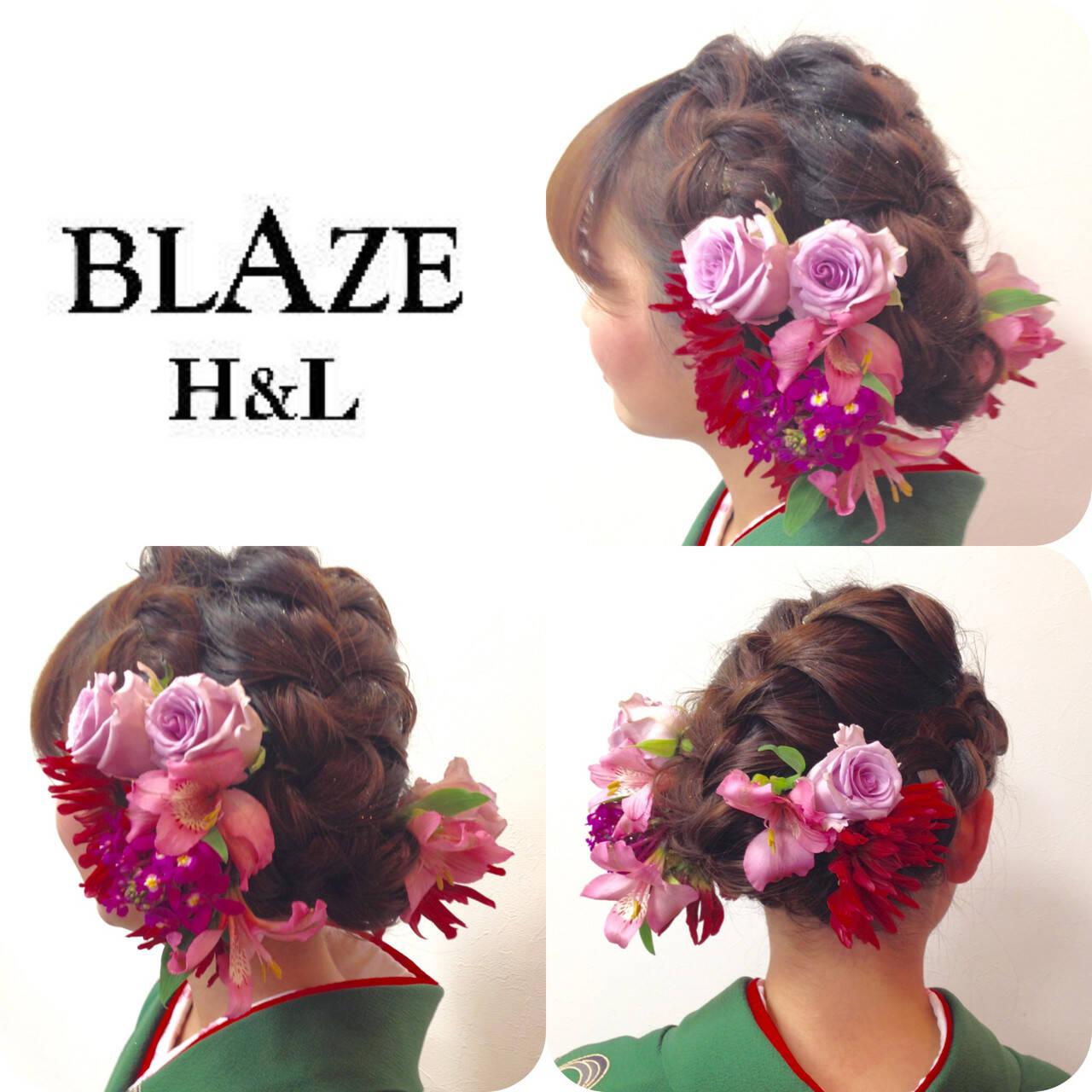 セミロング ヘアアレンジ 成人式 編み込みヘアスタイルや髪型の写真・画像