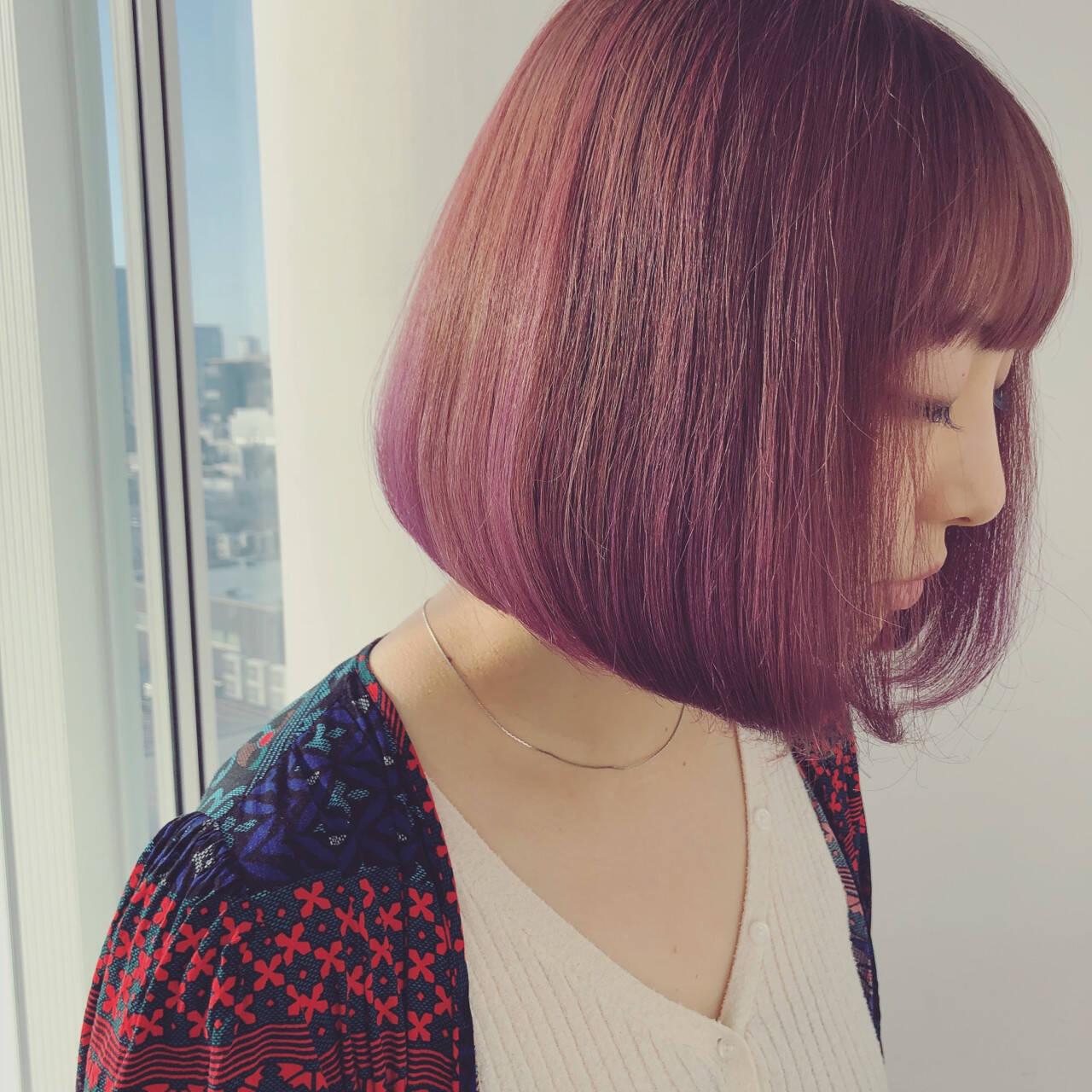 ピンク ボブ オルチャン パープルヘアスタイルや髪型の写真・画像
