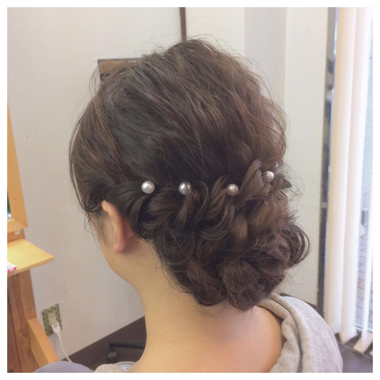 和装 セミロング 上品 簡単ヘアアレンジヘアスタイルや髪型の写真・画像