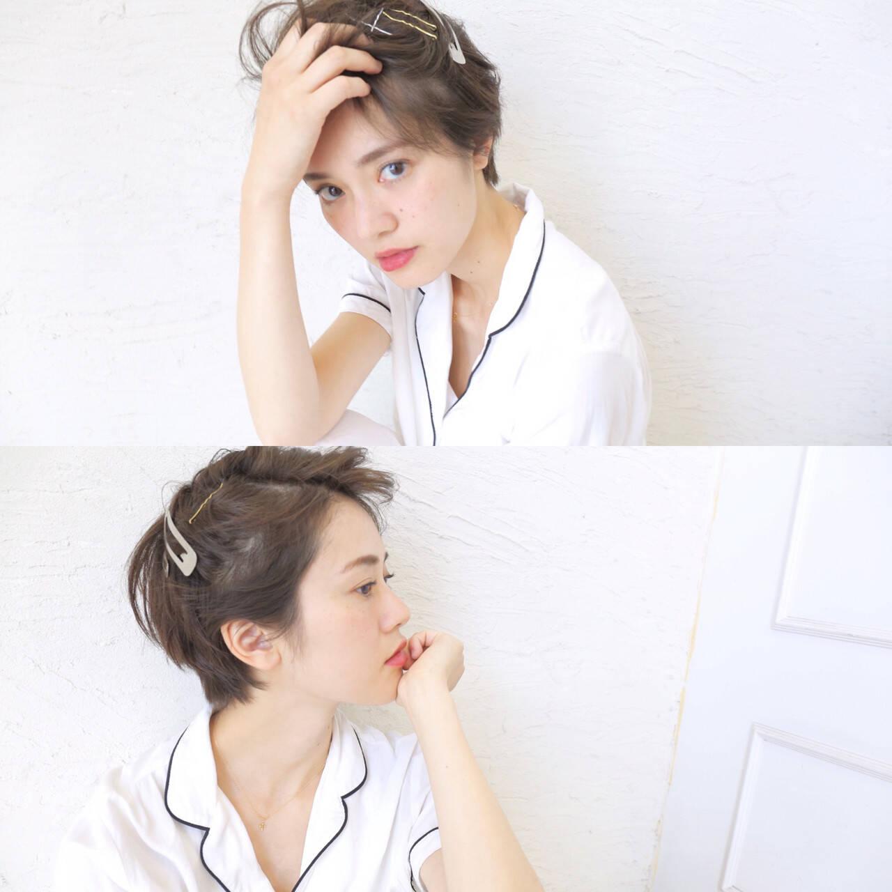 夏 ガーリー ショート ヘアアレンジヘアスタイルや髪型の写真・画像