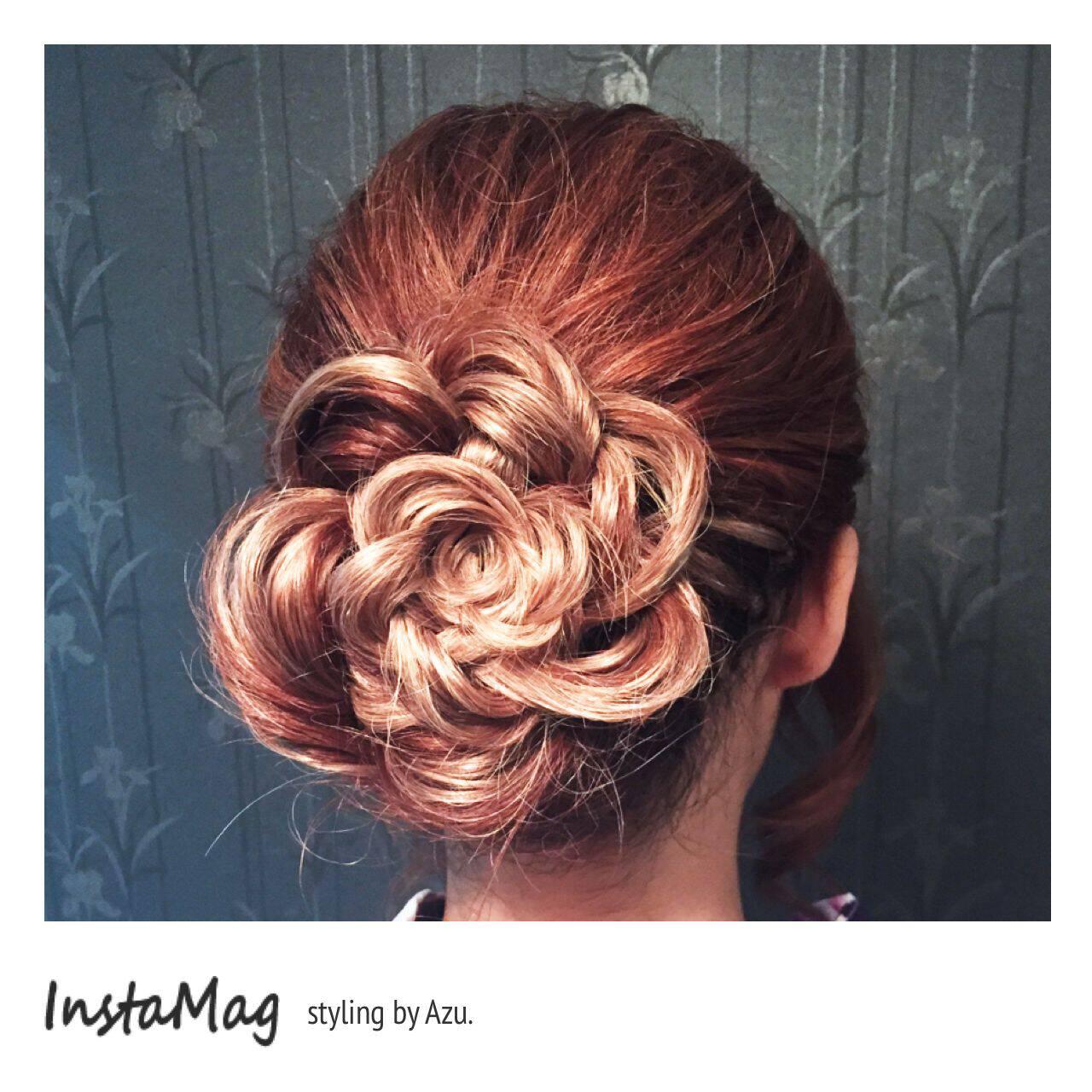 甘め ヘアアレンジ ナチュラル セミロングヘアスタイルや髪型の写真・画像