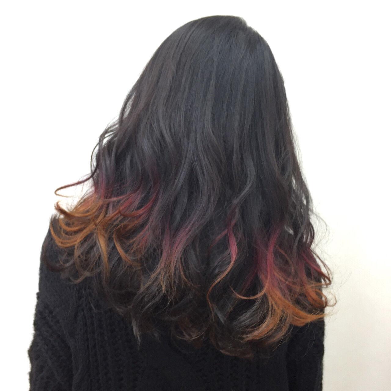 イエロー モード ロング オレンジヘアスタイルや髪型の写真・画像