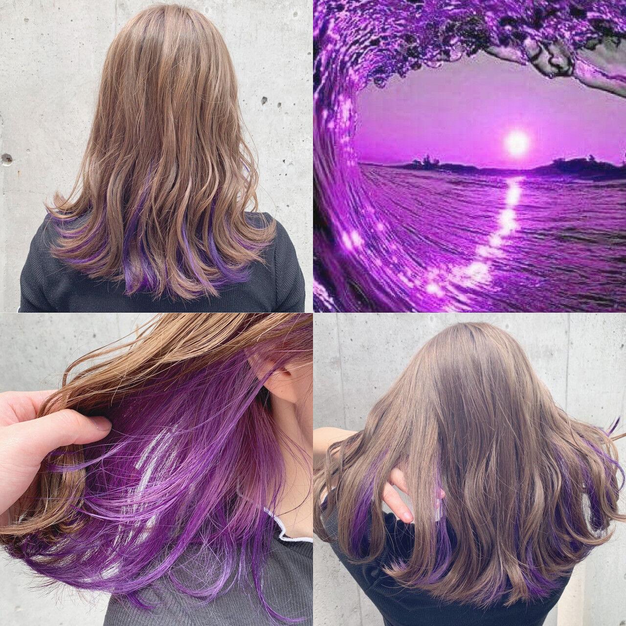ストリート ミディアム インナーカラー ユニコーンカラーヘアスタイルや髪型の写真・画像