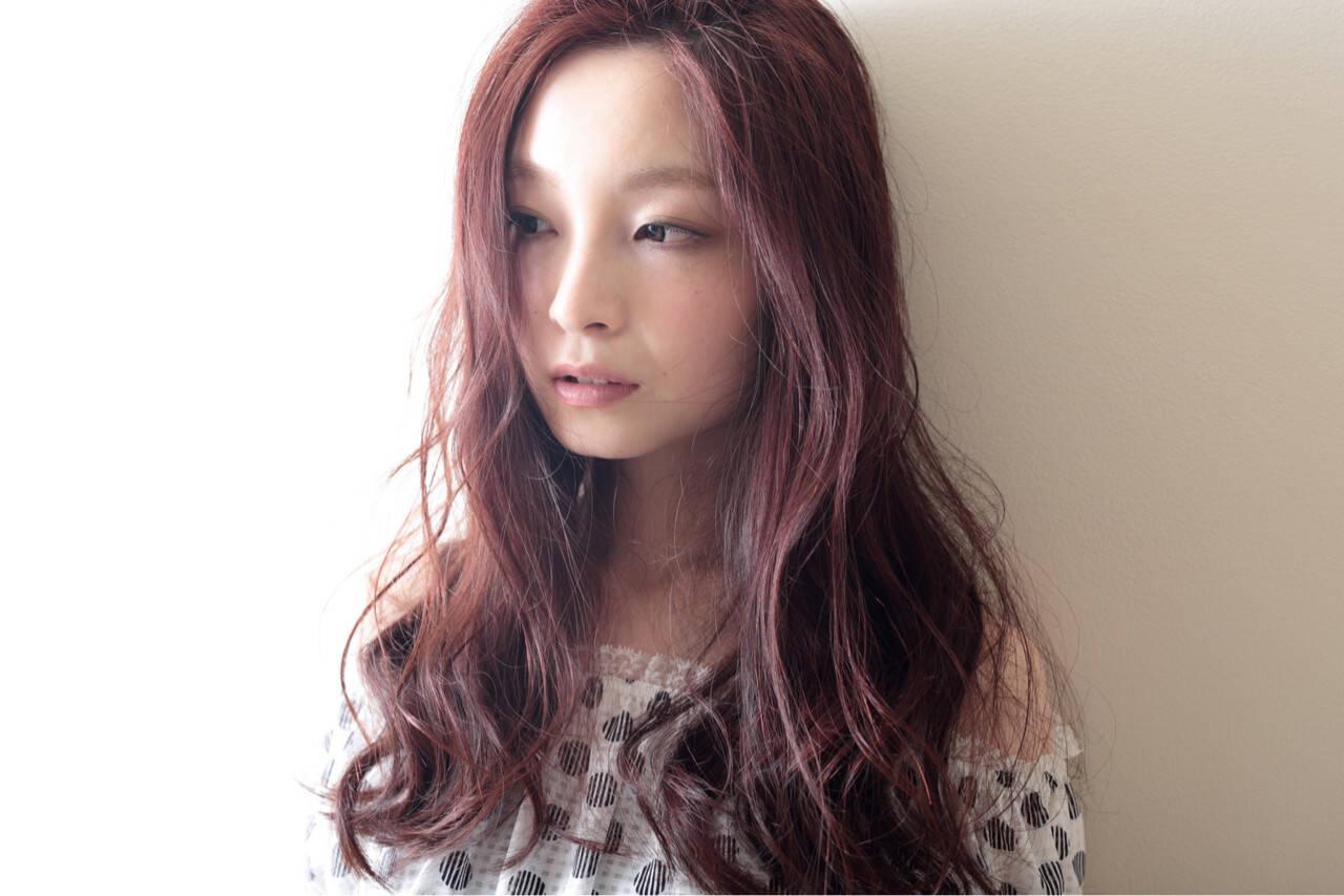 ウェーブ コンサバ 大人かわいい レッドヘアスタイルや髪型の写真・画像