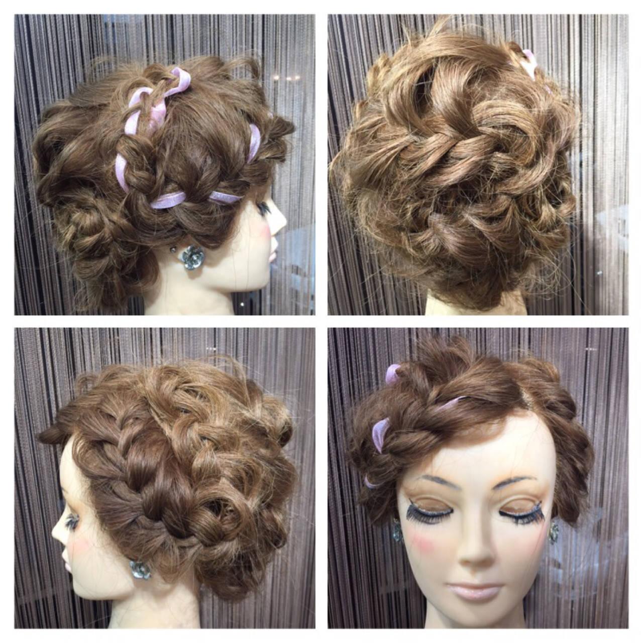 編み込み ヘアアレンジ セミロング パーティヘアスタイルや髪型の写真・画像