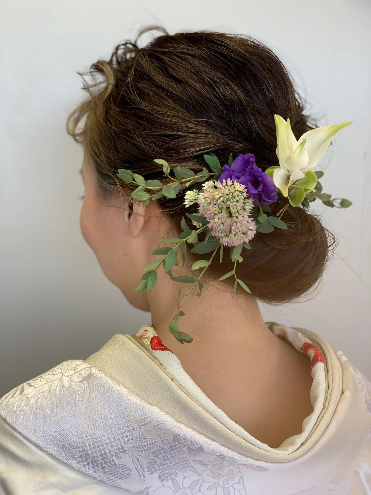 ナチュラル 結婚式ヘアアレンジ ミディアム ハイライトヘアスタイルや髪型の写真・画像