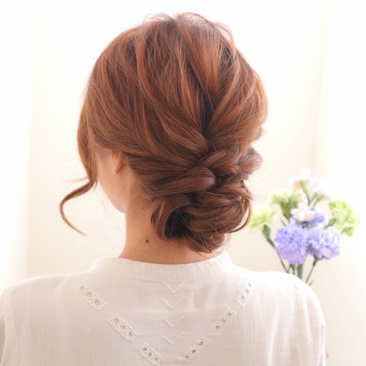 セミロング 三つ編み まとめ髪 簡単ヘアアレンジヘアスタイルや髪型の写真・画像