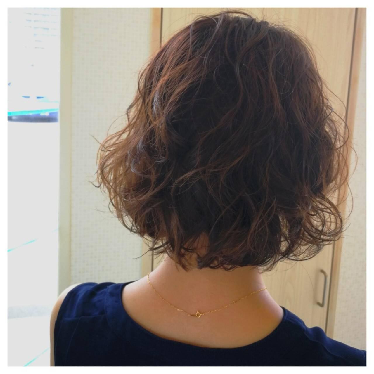 ボブ ふわふわ ガーリー ウェーブヘアスタイルや髪型の写真・画像