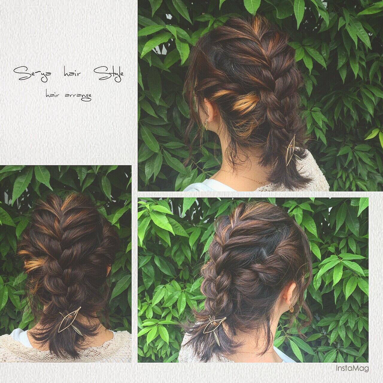 簡単ヘアアレンジ フェミニン ヘアアレンジ ハイライトヘアスタイルや髪型の写真・画像