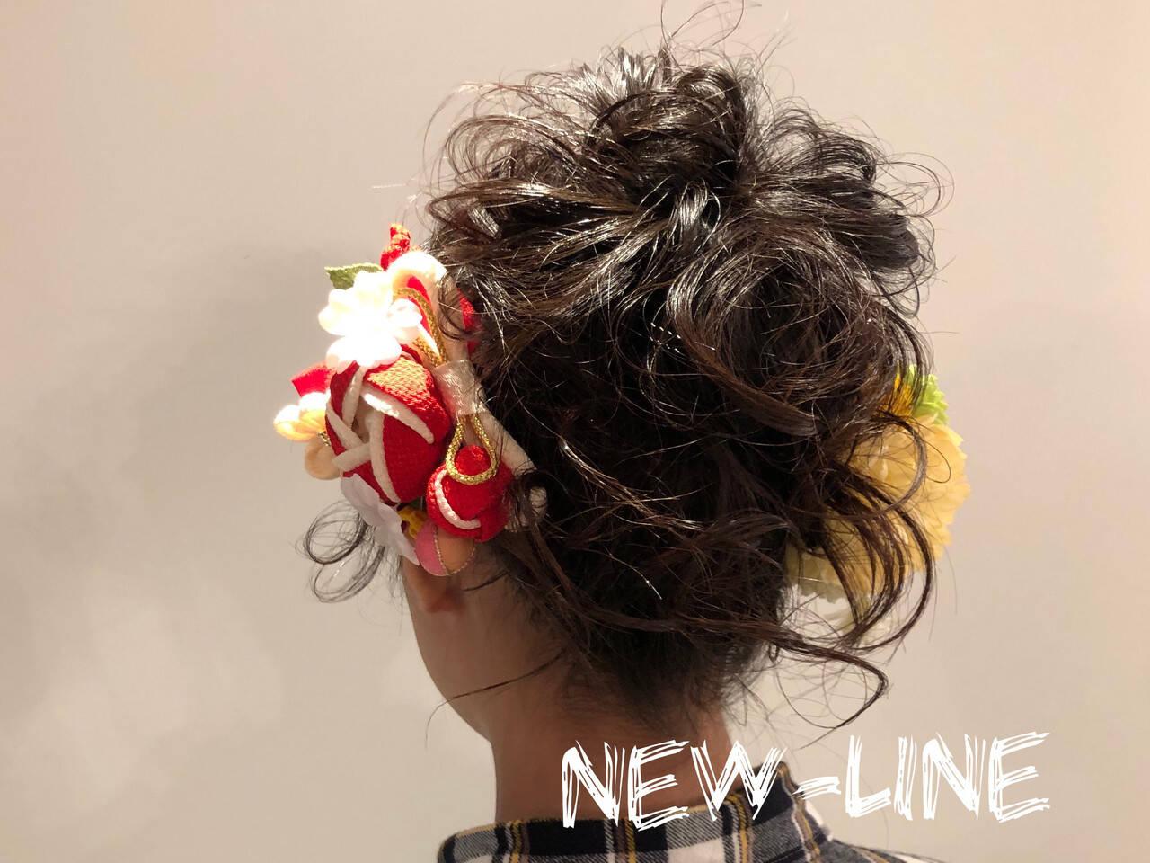 成人式 ヘアアレンジ パーティヘア セミロングヘアスタイルや髪型の写真・画像