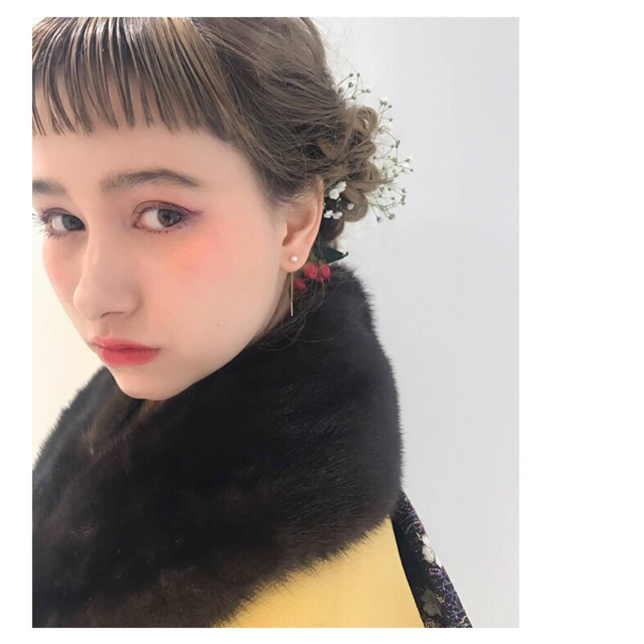 ヘアアレンジ ショート ナチュラル ミルクティーヘアスタイルや髪型の写真・画像