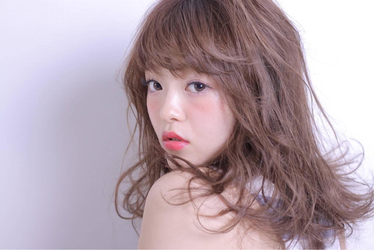 ガーリー セミロング 大人かわいい かわいいヘアスタイルや髪型の写真・画像