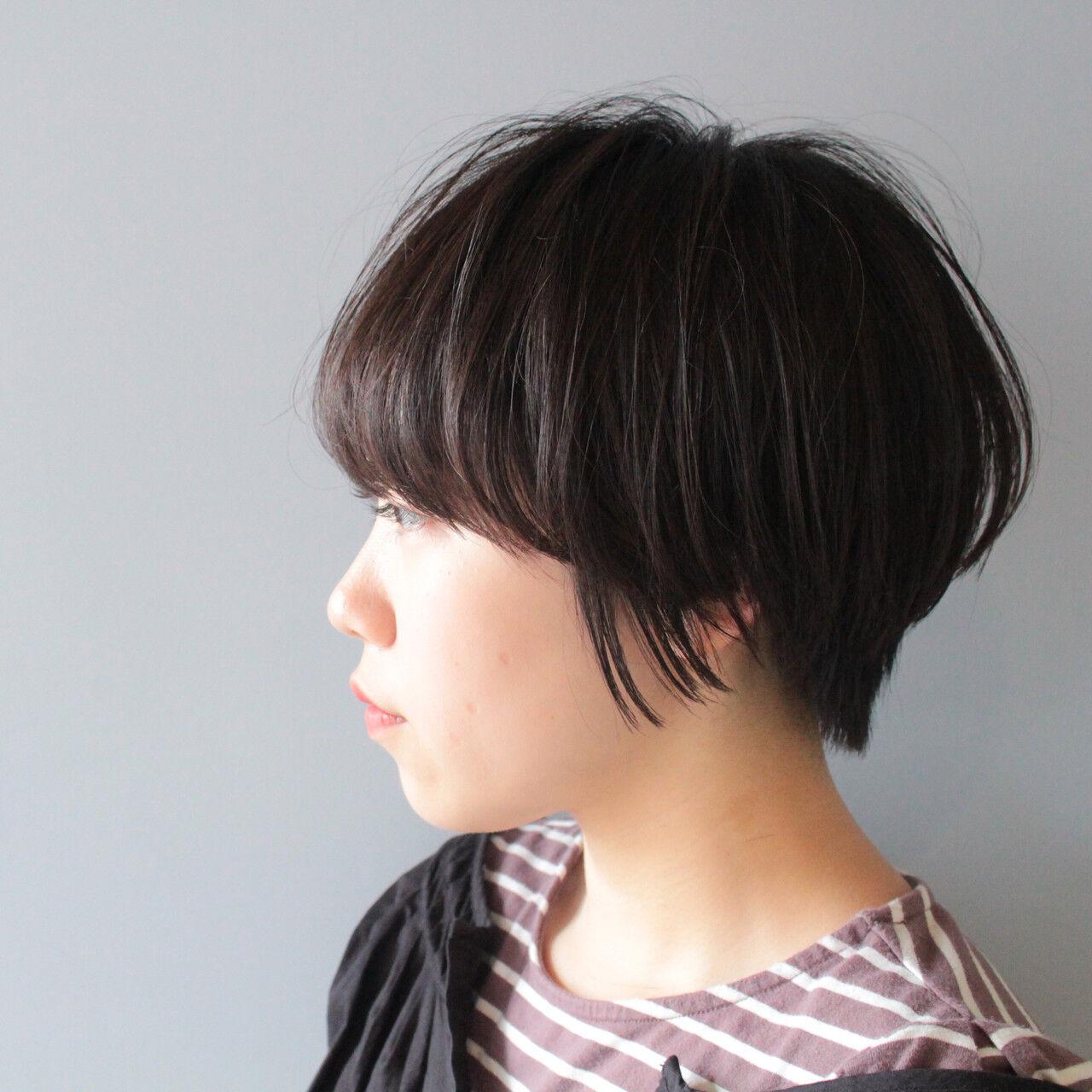 ショートボブ 小顔ショート 黒髪 ショートヘアスタイルや髪型の写真・画像