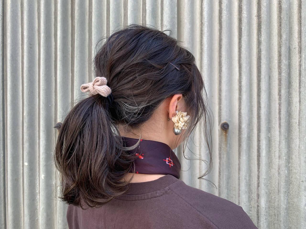 簡単ヘアアレンジ ローポニーテール ヘアアレンジ ナチュラルヘアスタイルや髪型の写真・画像