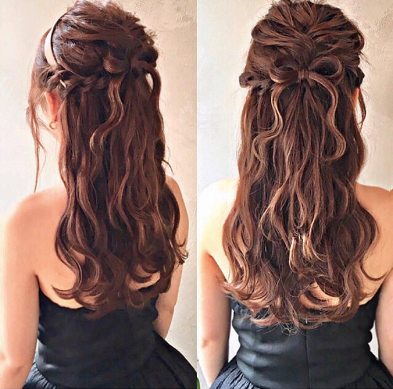 ヘアアレンジ エレガント 編み込み ロングヘアスタイルや髪型の写真・画像