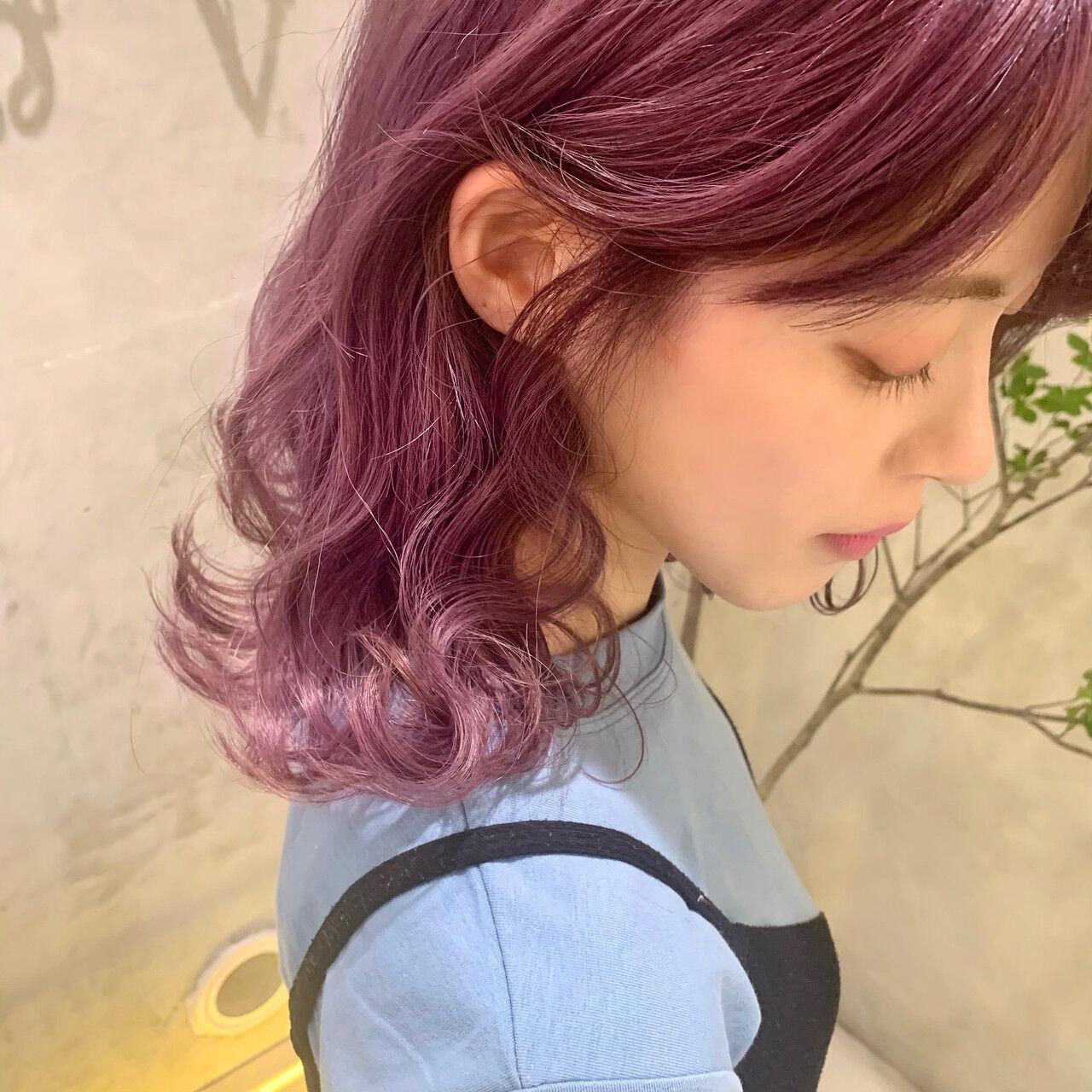 ピンクラベンダー ラベンダーピンク ピンクパープル ガーリーヘアスタイルや髪型の写真・画像