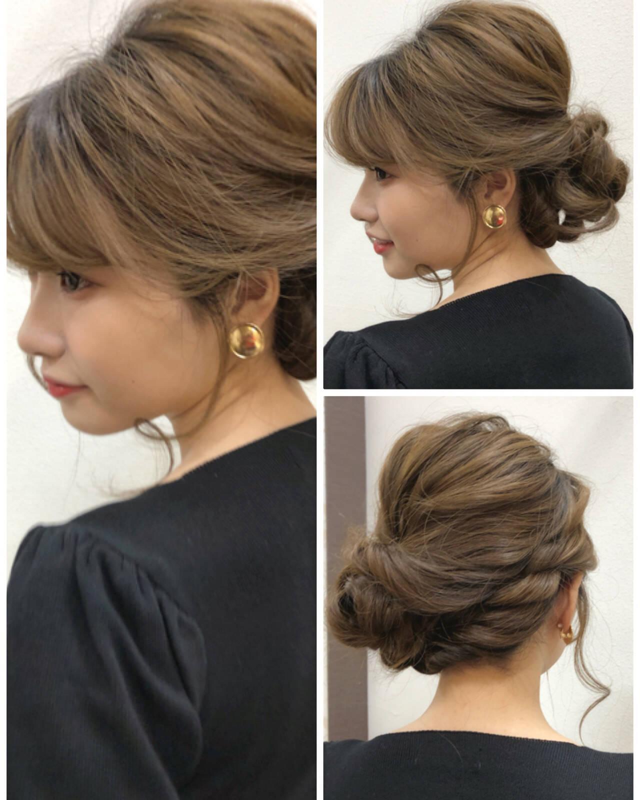 ゆるふわセット デート フェミニン 結婚式ヘアスタイルや髪型の写真・画像