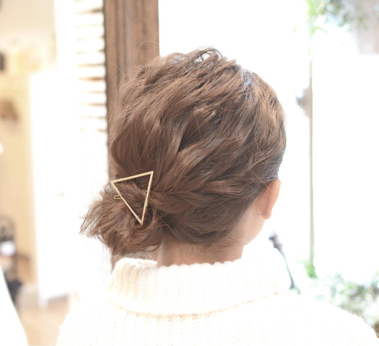 編み込み デート ナチュラル ミディアムヘアスタイルや髪型の写真・画像