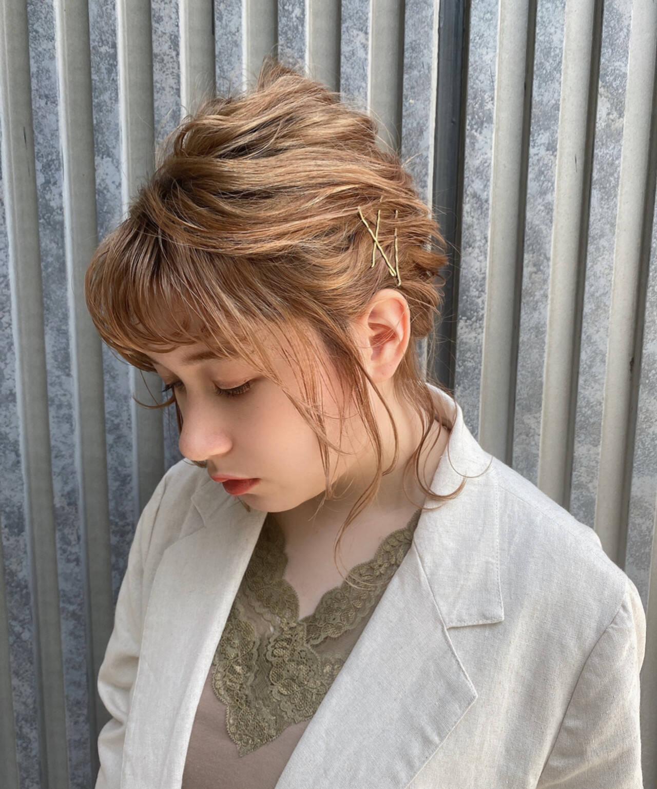 ヘアアレンジ ボブ お出かけヘア 簡単ヘアアレンジヘアスタイルや髪型の写真・画像