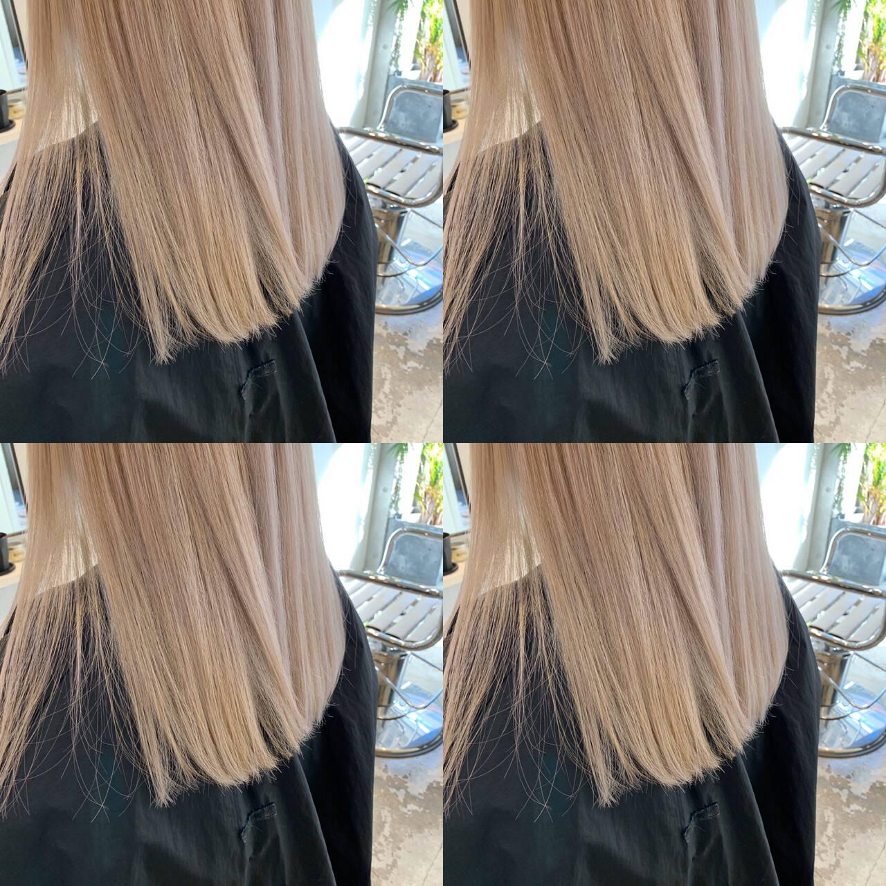 ミディアム インナーカラー モード 切りっぱなしボブヘアスタイルや髪型の写真・画像