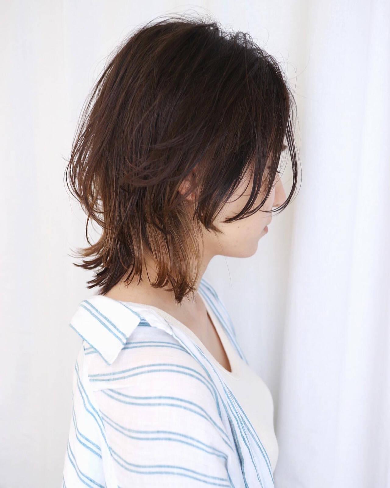 インナーカラー ストリート ウルフカット グラデーションカラーヘアスタイルや髪型の写真・画像