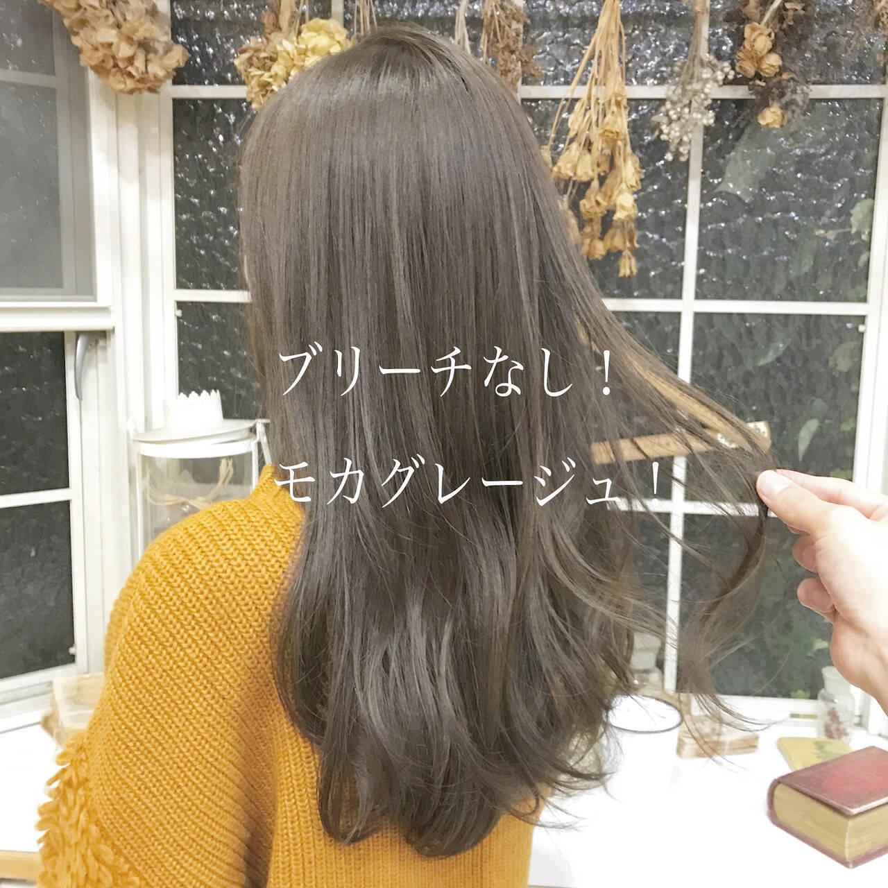 ブリーチなし ベージュ グレージュ ヘアカラーヘアスタイルや髪型の写真・画像