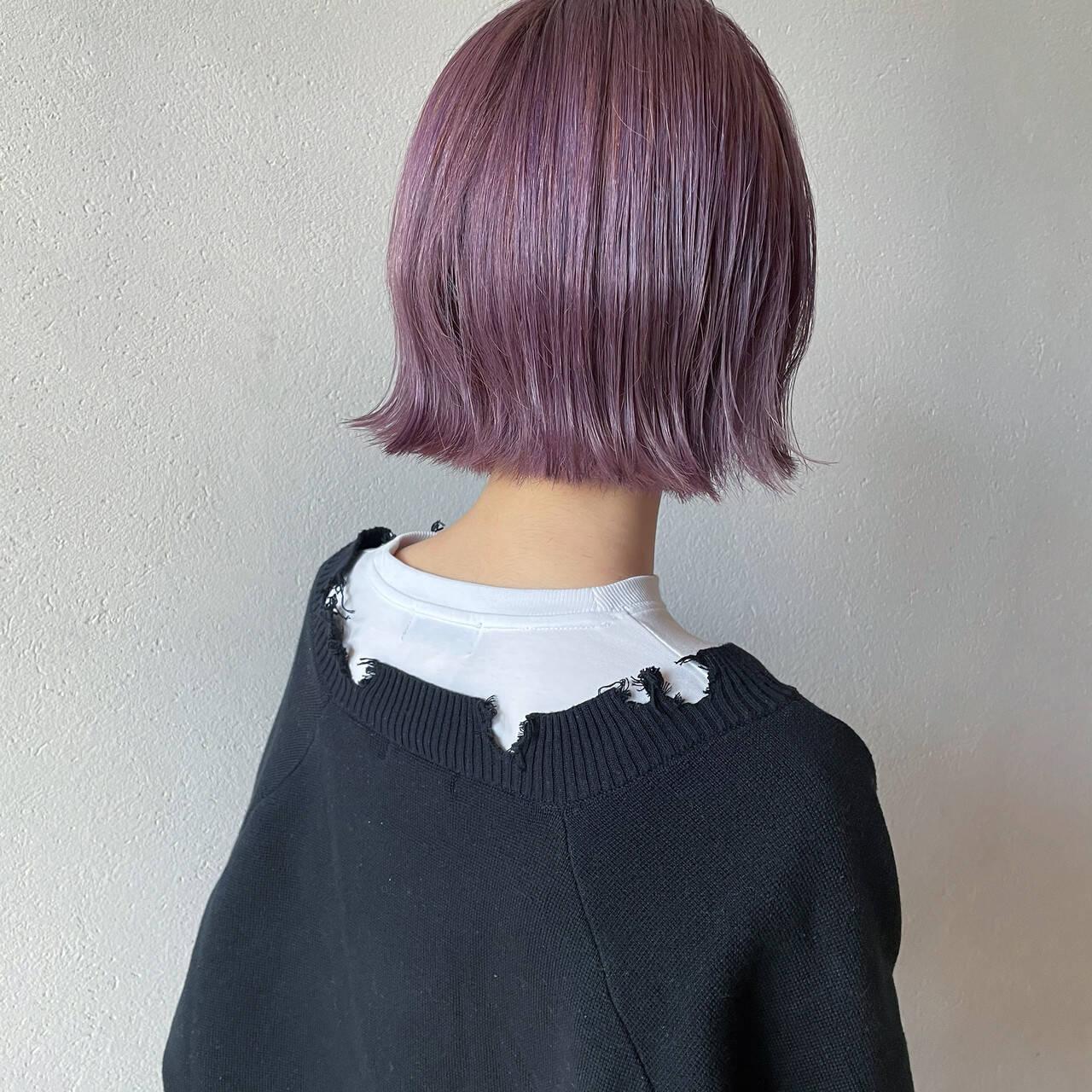 ハイトーンボブ ラベンダーピンク ボブ ハイトーンカラーヘアスタイルや髪型の写真・画像