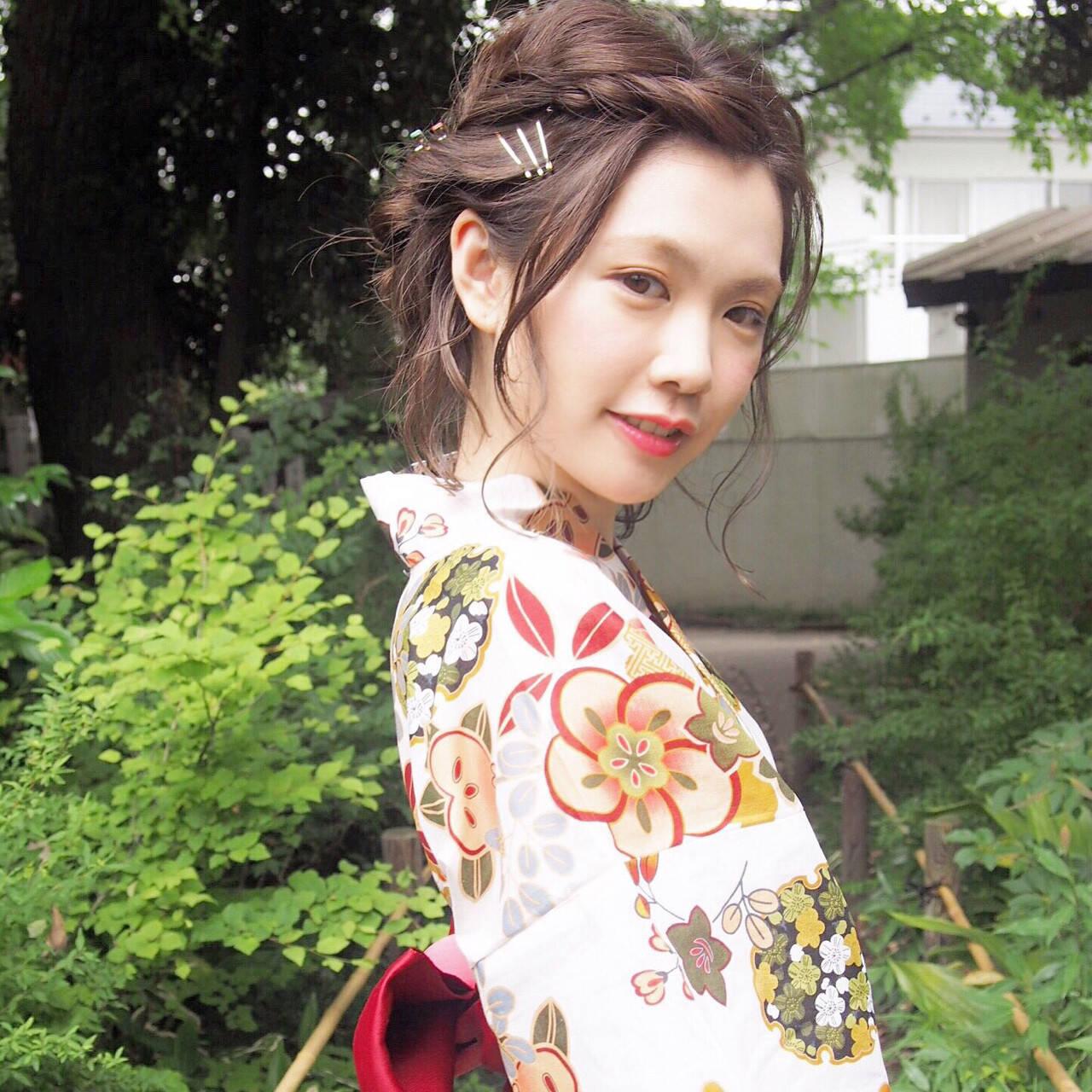ショート 夏 花火大会 ヘアアレンジヘアスタイルや髪型の写真・画像