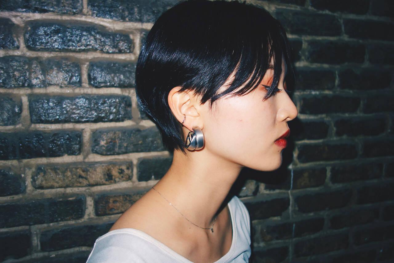 モード 大人ショート ショートヘア 黒髪ショートヘアスタイルや髪型の写真・画像