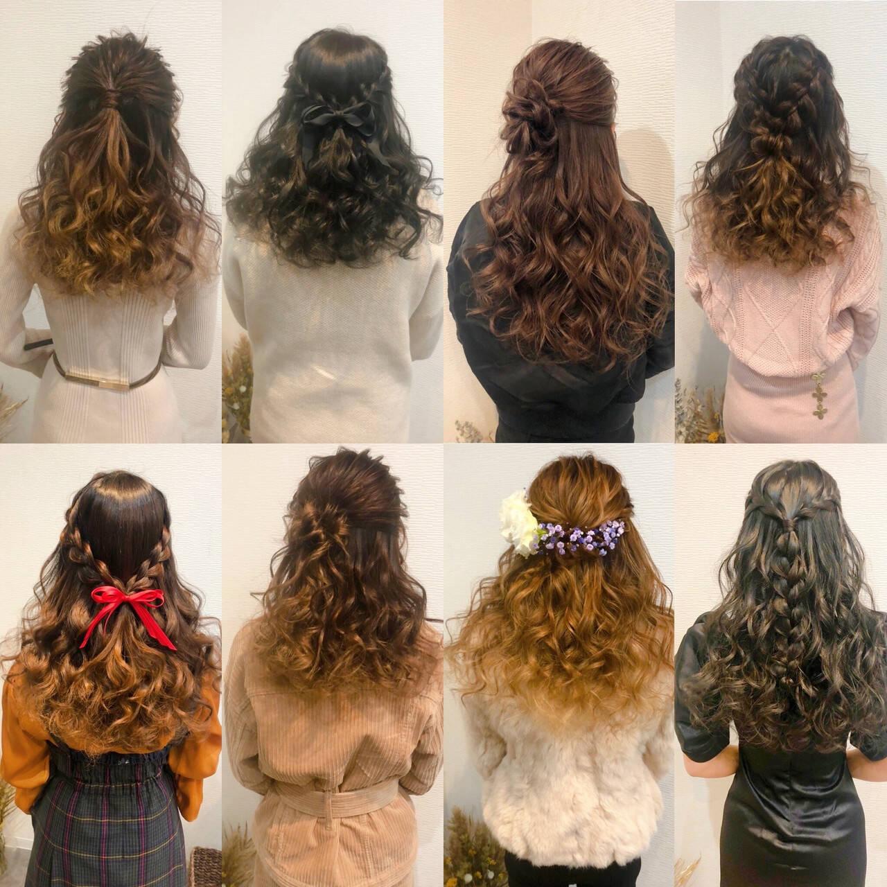 ハーフアップ 編み込み ヘアアレンジ フェミニンヘアスタイルや髪型の写真・画像