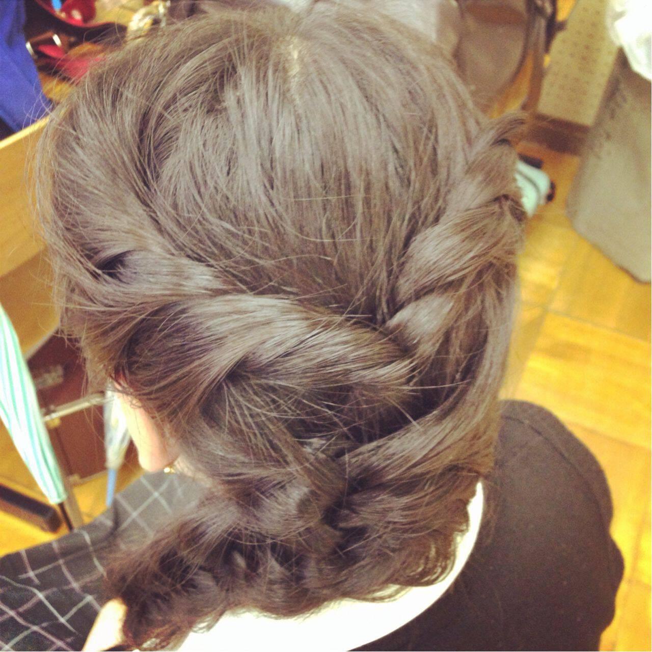 ヘアアレンジ ナチュラル 編み込み 簡単ヘアアレンジヘアスタイルや髪型の写真・画像