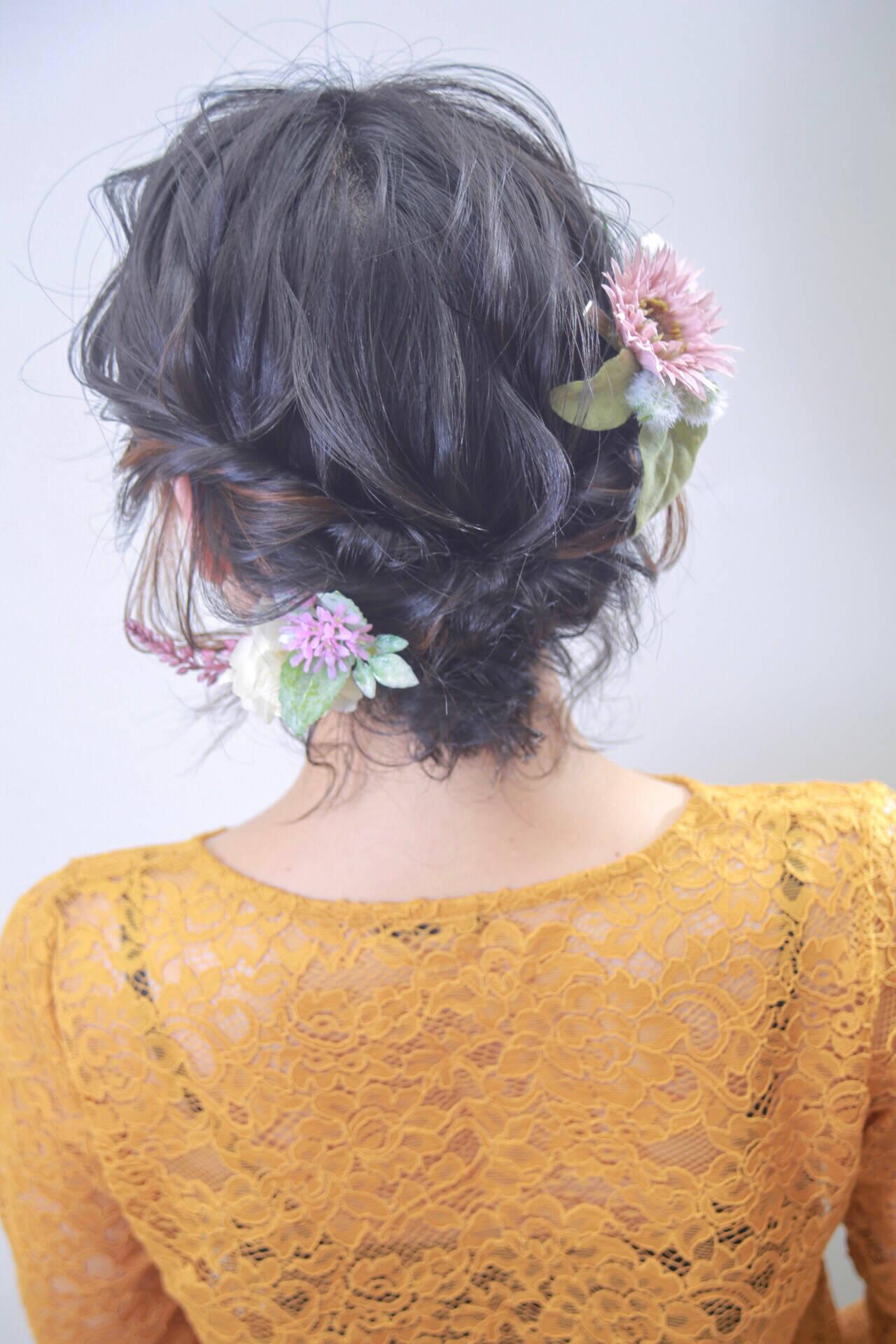 エレガント 結婚式 簡単ヘアアレンジ インナーカラーヘアスタイルや髪型の写真・画像