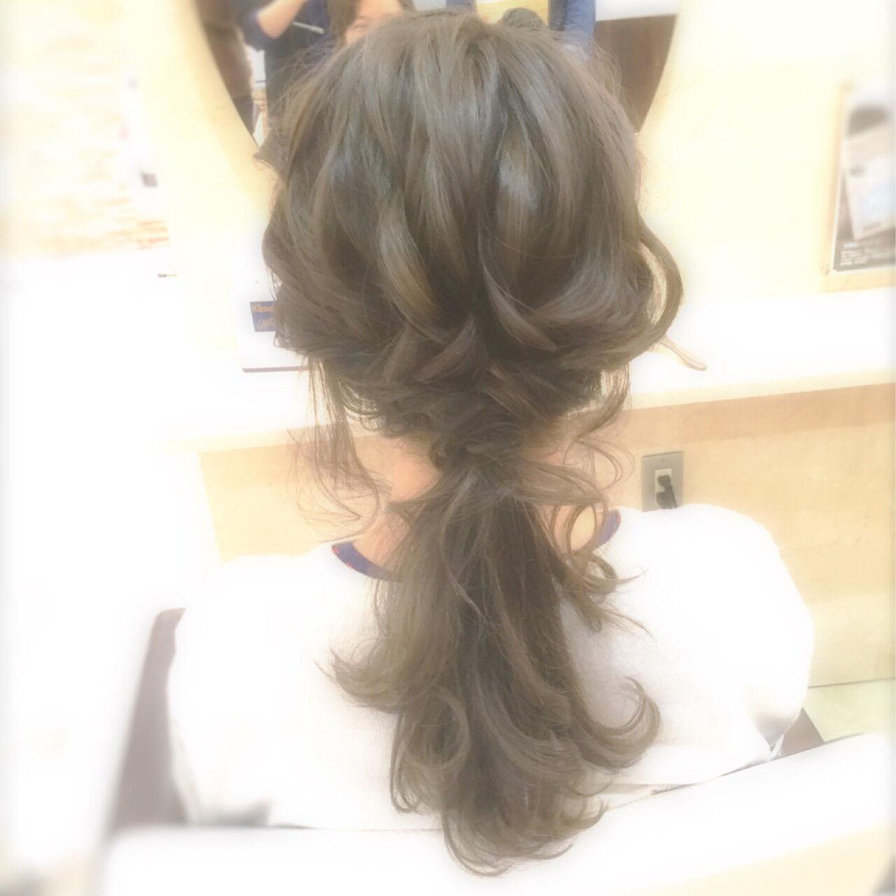 イルミナカラー 大人かわいい ロング ローポニーテールヘアスタイルや髪型の写真・画像