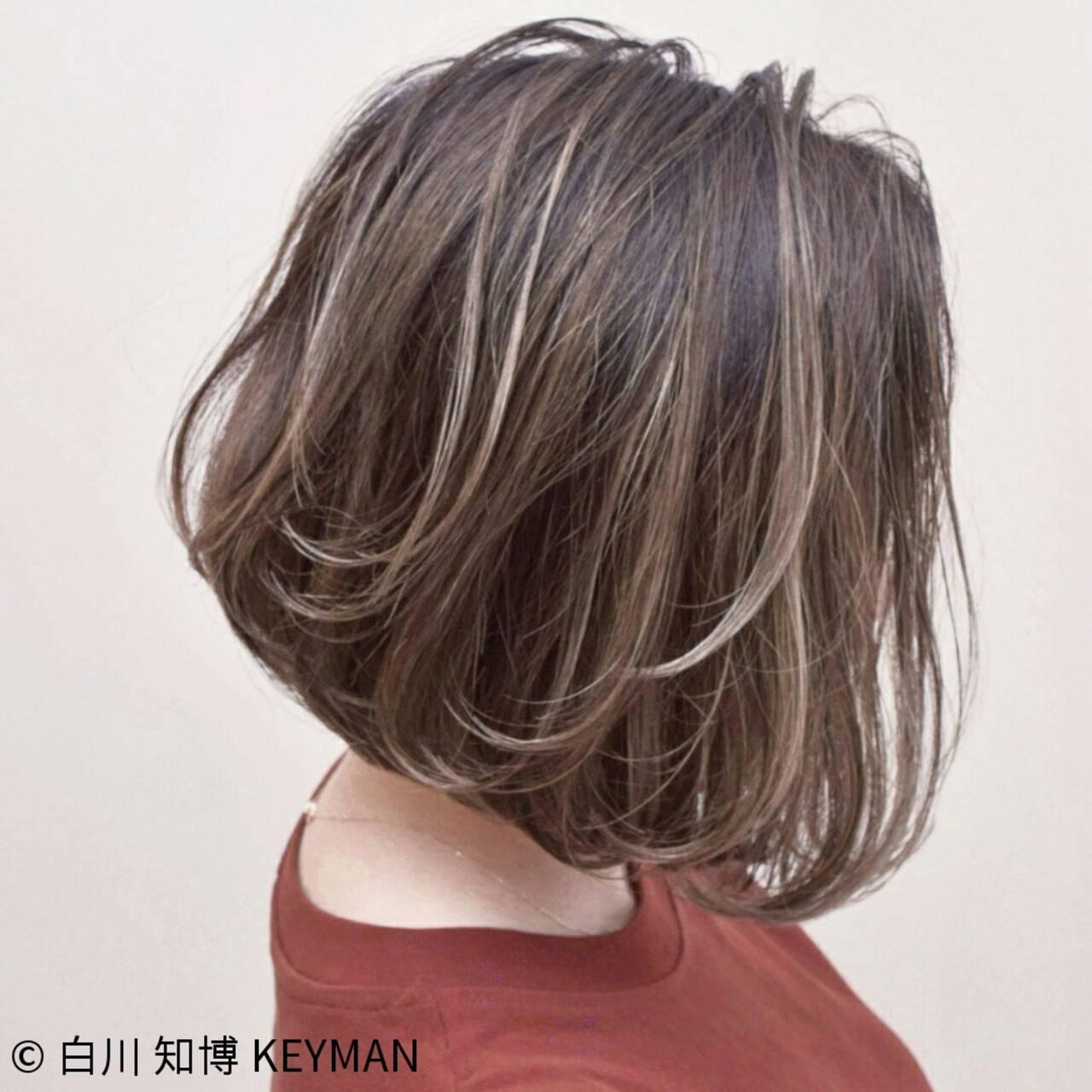 ボブ バレイヤージュ 簡単ヘアアレンジ アンニュイヘアスタイルや髪型の写真・画像