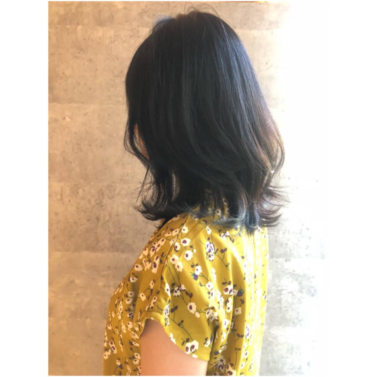 ナチュラル ミディアム 大人女子 3Dカラーヘアスタイルや髪型の写真・画像