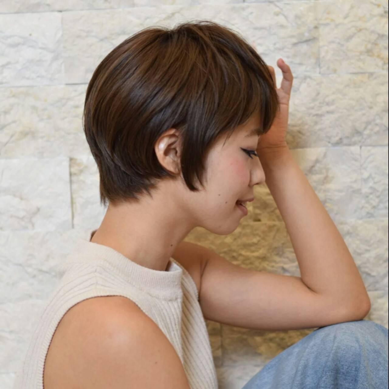 ナチュラル ショート ショートボブ 前髪ありヘアスタイルや髪型の写真・画像
