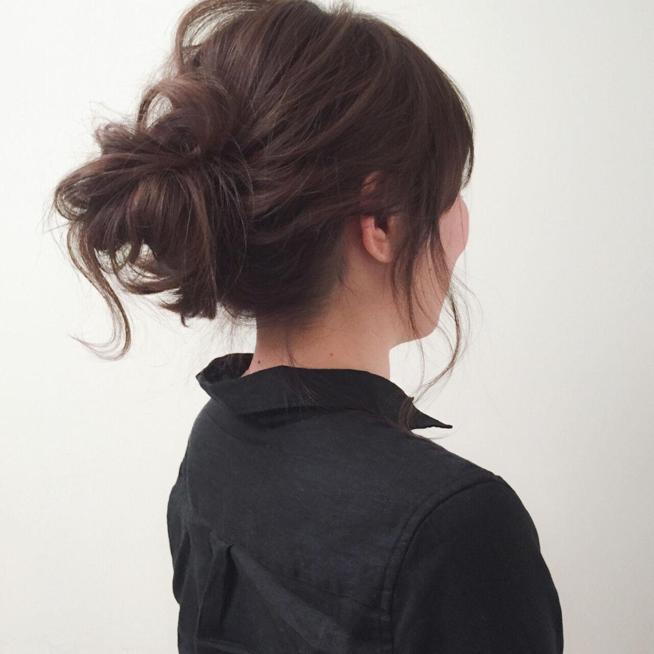 ヘアアレンジ お団子 ミディアム ゆるふわヘアスタイルや髪型の写真・画像