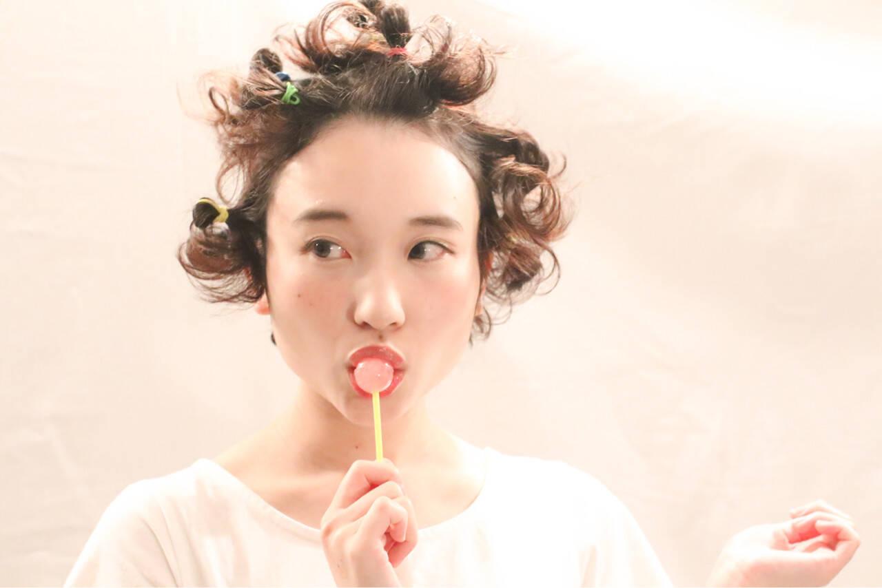 ショート ガーリー 夏 ボブヘアスタイルや髪型の写真・画像