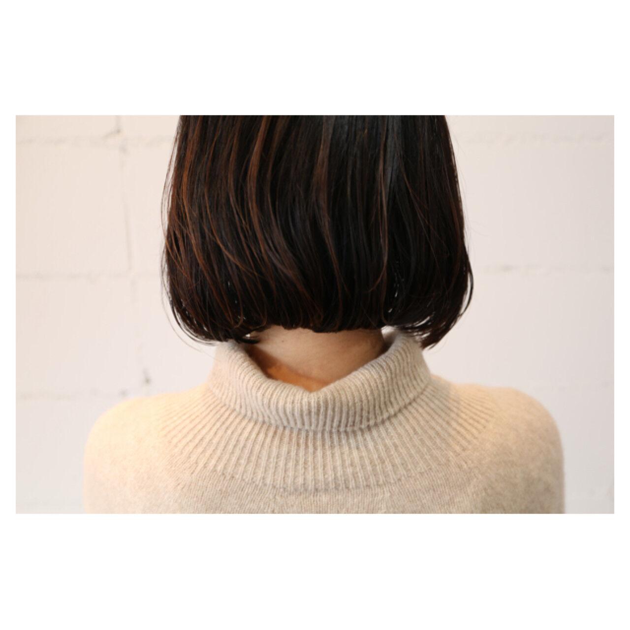 大人女子 イルミナカラー ナチュラル ボブヘアスタイルや髪型の写真・画像