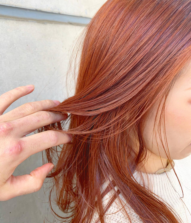 アプリコットオレンジ オレンジカラー オレンジベージュ オレンジヘアスタイルや髪型の写真・画像