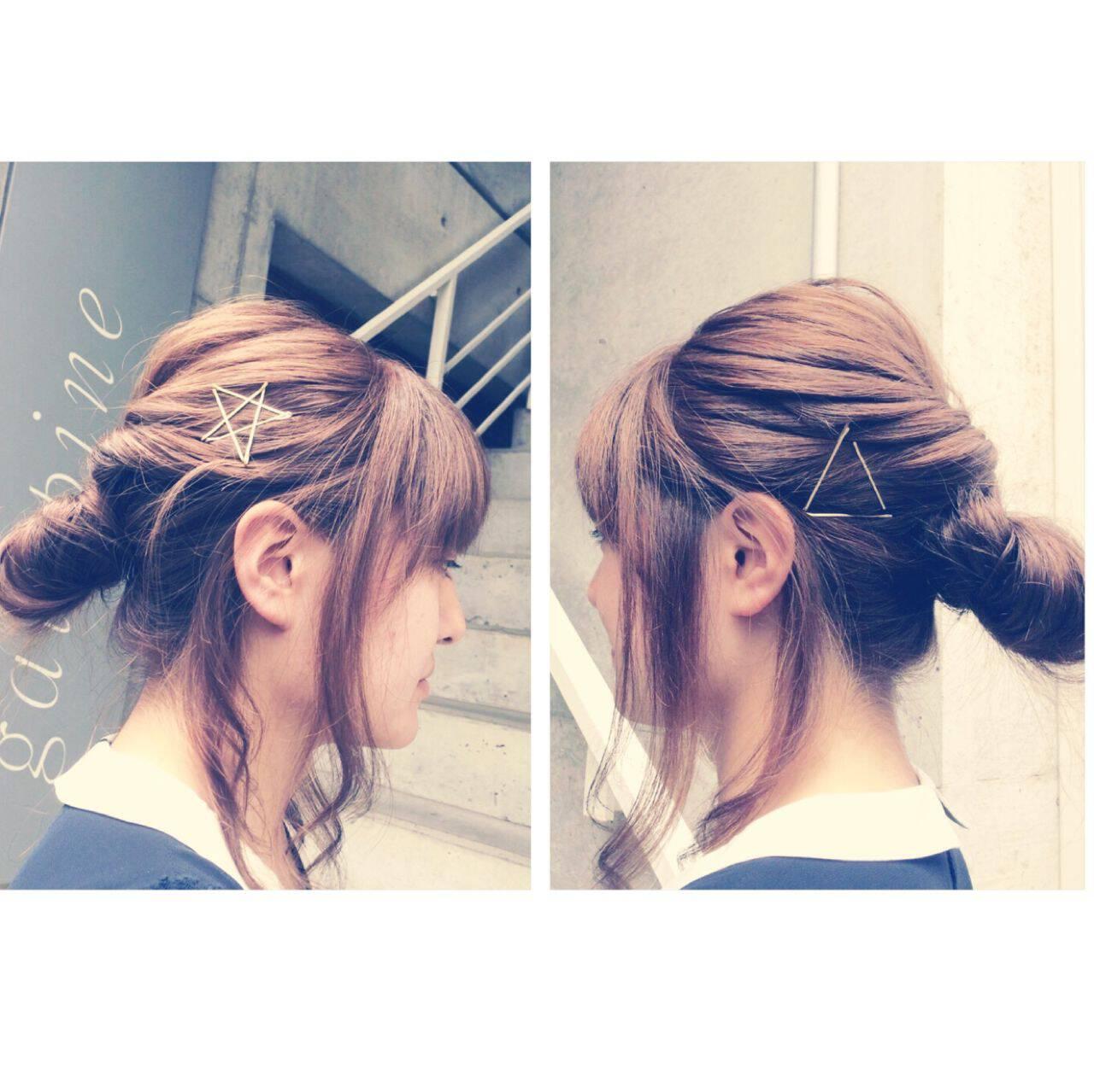 ヘアピン ヘアアレンジ シニヨン お団子ヘアスタイルや髪型の写真・画像